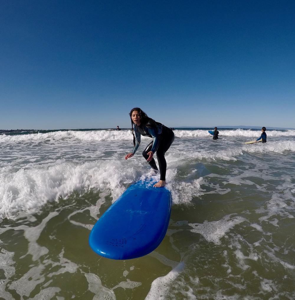 ISM student gets up during SEM surfing class