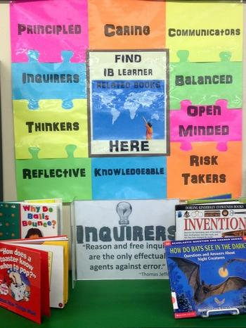 IB learner profile book area in the ISM libary